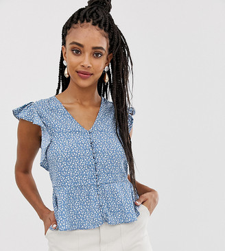 New Look button through blouse in blue ditsy print