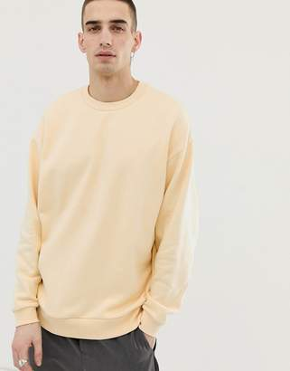 Asos Design DESIGN oversized sweatshirt in light yellow-Beige