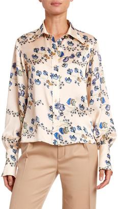 Chloé Flower-Print Hammered Satin Shirt