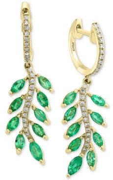 Effy Emerald (1-3/4 ct. t.w.) & Diamond (1/5 ct. t.w.) Leaf Drop Earrings in 14k Gold