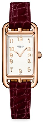 Hermes Nantucket 18K Rose Gold & Alligator Strap Watch