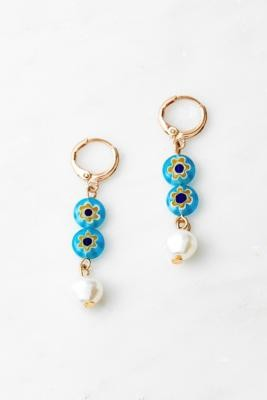Urban Outfitters Gold-Tone & Blue Ceramic Bead Drop Earrings - Blue ALL at