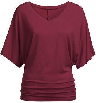 Momoxi Women's T-shirt women's solid casual T-shirt top deep V-neck blouse plus size bat sleeves casual loose comfort. - Multicolour - One size