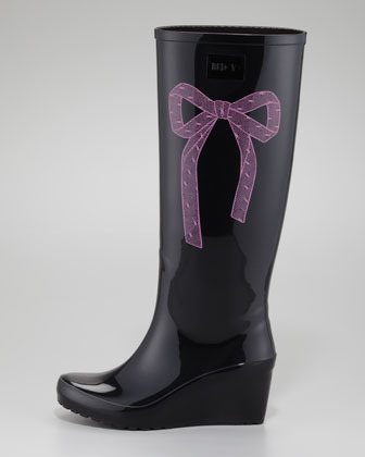 RED Valentino Bow-Side Rubber Wedge Rain Boot