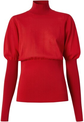 Burberry Puff-Sleeve High Neck Jumper