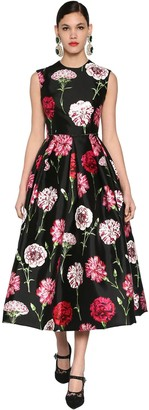 Dolce & Gabbana Flower Printed Silk Mikado Midi Dress