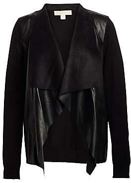 MICHAEL Michael Kors Women's Leather Drape Cardigan
