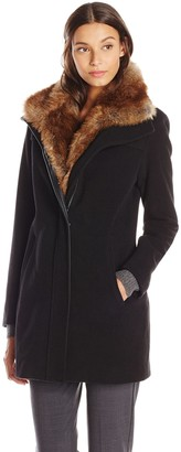 Lark & Ro Amazon Brand Women's Faux Fur Collar Coat
