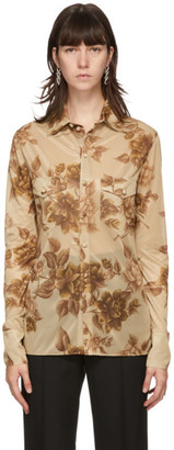 Kwaidan Editions Tan Floral Scarf Print Shirt