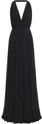 Saint Laurent Gathered Crystal-embellished Jersey Halterneck Gown