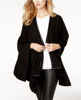 Charter Club Cashmere Faux-Leather-Trim Poncho Cardigan, Created for Macy's
