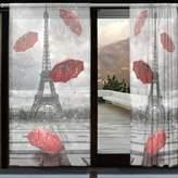 WOZO Romantic Paris Eiffel Tower Window Sheer Curtain Panels, 2-Piece Rain Yellow Umbrella Modern Window Treatment Panel Collection for Living Dining Room Home Decoration