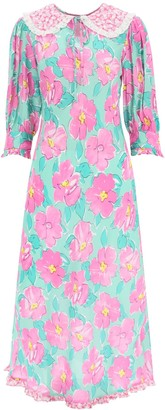 RIXO LONDON LAUREN LONG DRESS M Pink, Green