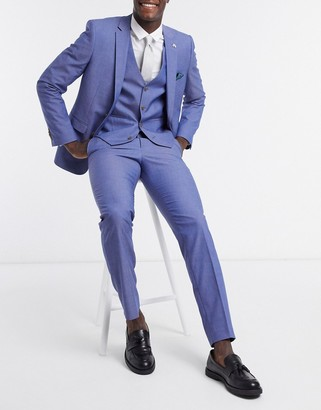 Farah blue plain slim fit suit pants