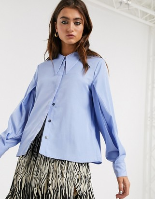 Object Shirt with extreme collar detail in blue