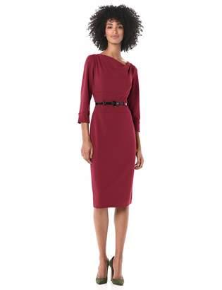 Donna Morgan Women's Stretch Crepe Cowl Neck Fitted Midi Dress