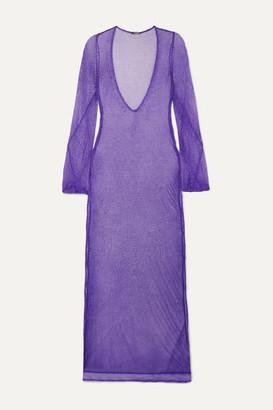 Caroline Constas Metallic Crochet-knit Maxi Dress - Purple