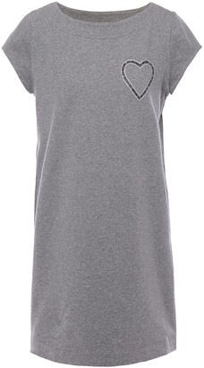Love Moschino Crystal-embellished Logo-print Melange Cotton-blend Mini Dress