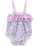 Beach Rays Purple & White Floral Annie One-Piece - Infant