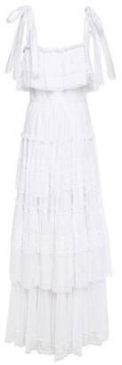 Dolce & Gabbana Tiered Crochet-trimmed Shirred Cotton-blend Voile Maxi Dress