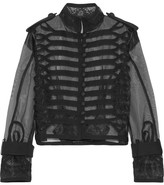 Sacai Cropped Lace And Canvas-trimmed Organza Jacket - Black