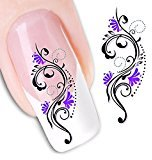 Set of 5 Water Transfer Nail Art Stickers Decal Beauty Sexy Snake Flowers Design DIY