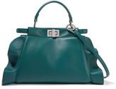 Fendi Peekaboo Mini Ruffle-trimmed Leather Shoulder Bag - Petrol