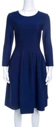 Issa Navy Blue Knit Eddington Fit and Flare Dress M