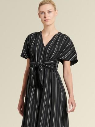 DKNY Donna Karan Women's Striped Tie-front Midi Dress - Black - Size 00