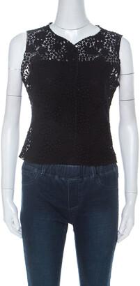Valentino Boutique Vintage Black Guipure Lace Sleeveless Blouse M