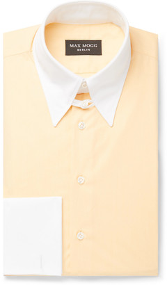 Maximilian Mogg Yellow Contrast-Trimmed Double-Cuff Zephyr Cotton Shirt