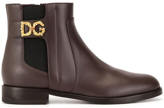Dolce & Gabbana Monogram Detail Ankle Boots