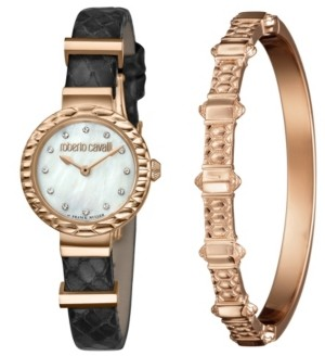 Roberto Cavalli By Franck Muller Women's Diamond Swiss Quartz Black Leather Strap Watch & Bracelet Gift Set, 26mm