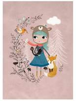 Nature Girl With Bear Hat and Fox Print