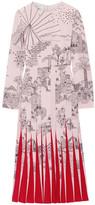 Valentino Pleated Printed Silk Crepe De Chine Midi Dress - Pastel pink