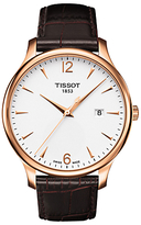 Tissot T0636103603700 Tradition Date Leather Strap Watch, Dark Brown/white