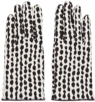 Raf Simons Black and White Animal Print Gloves