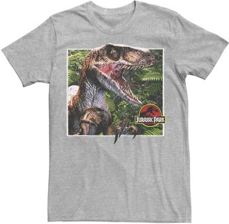 Jurassic World Men's Jurassic Park Raptor Coming Out Of Forest Graphic Tee