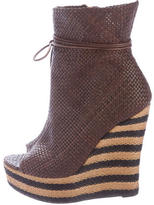 Burberry Peep-Toe Wedge Ankle Boots