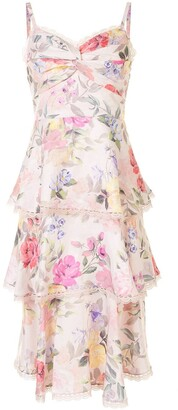 Marchesa Floral Print Tiered Dress