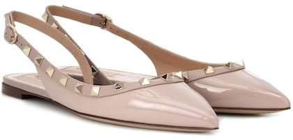 Valentino Rockstud patent leather slingback ballet flats