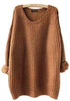 ARJOSA Women's Cable Knit Oversized Crewneck Casual Pullovers Sweaters Tops (, Wine Red)