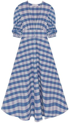Berta Cabestany Valencia Blue Checks Midi Shirtdress
