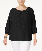 MICHAEL Michael Kors Size Scoop-Neck Gathered Top