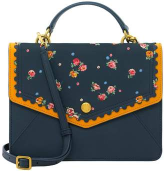 Cath Kidston Scalloped Printed Wimbourne Ditsy Leather Bag - Navy
