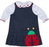 Florence Eiseman Pleated Corduroy Ladybug Dress w/ Blouse, Navy/White, Size 2-4