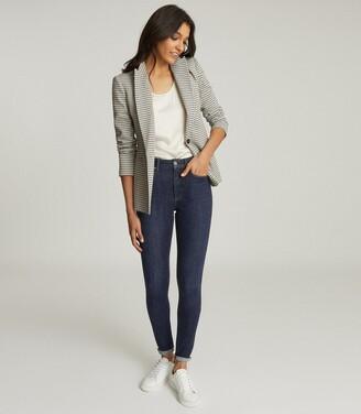 Reiss Astara - Cotton Blend Tailored Blazer in Black/White