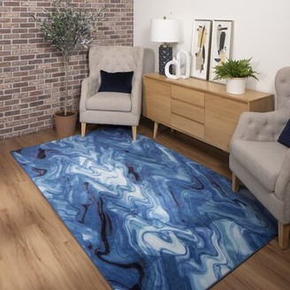 Brayden Studio Pauling Abstract Tufted Blue Area Rug Rug Size: Rectangle 8' x 10'