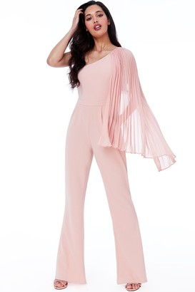 Goddiva Nude Chiffon Sleeve One Shoulder Jumpsuit
