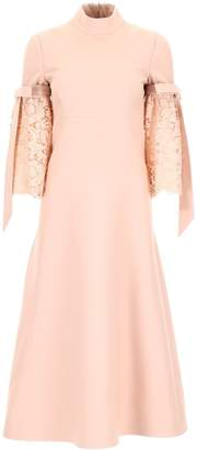 Valentino Lace Sleeve Midi Dress